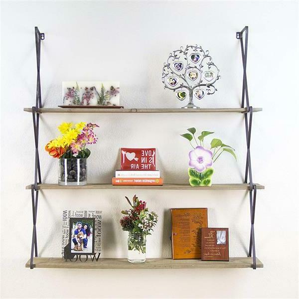 rustic floating wood shelves 3 tier wall