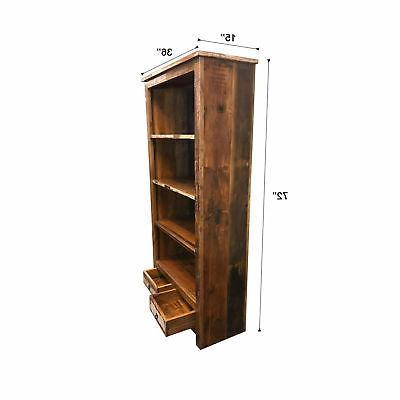 """Rustic Reclaimed Bookcase with 36"""" 15"""" W 72"""""""