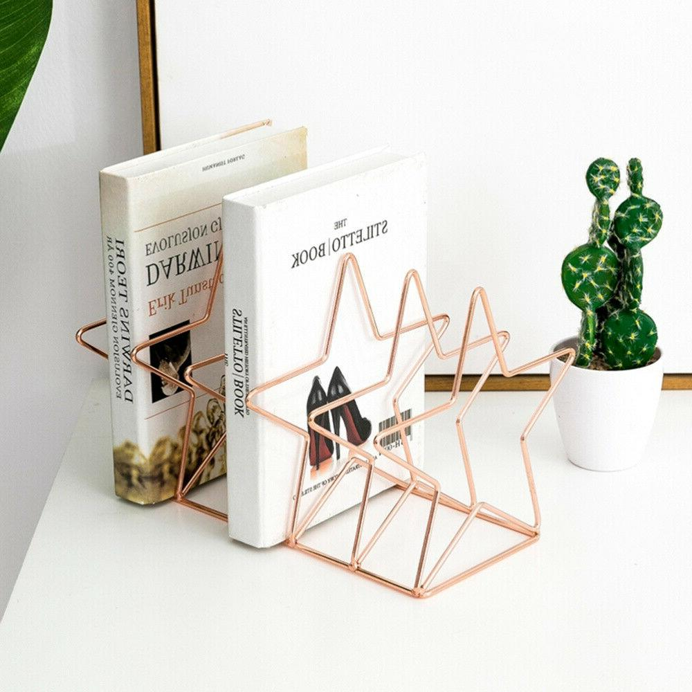 desktop bookshelf star shape iron art bookstand