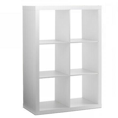 Storage 6 Cube Bins Display Record Stand