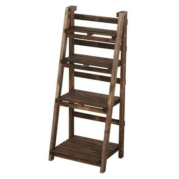 Strong 4 Shelf Leaning Bookcase Stand Rack Brown