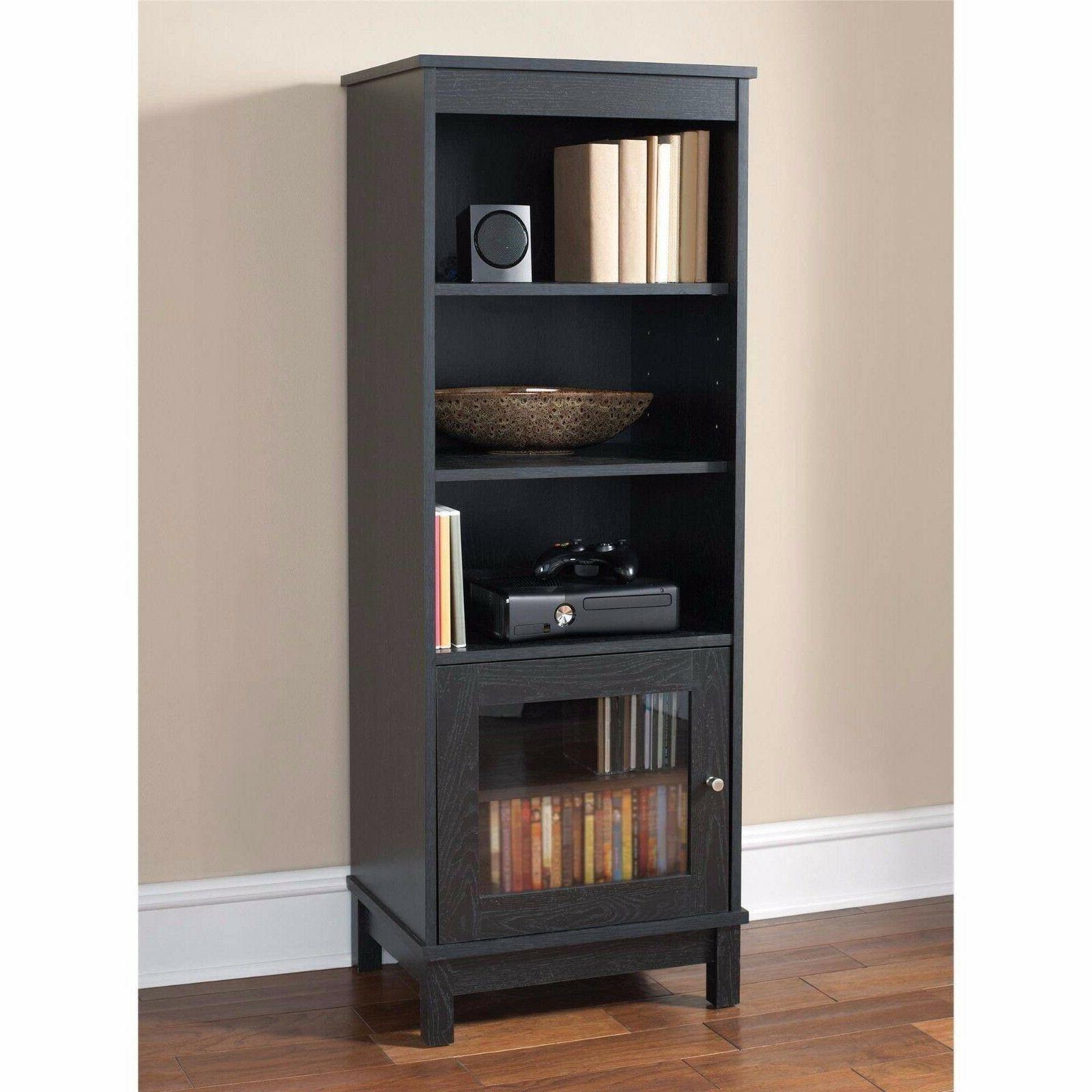 Bookcase with Glass Doors Traditional Bookshelf Cabinet Furn