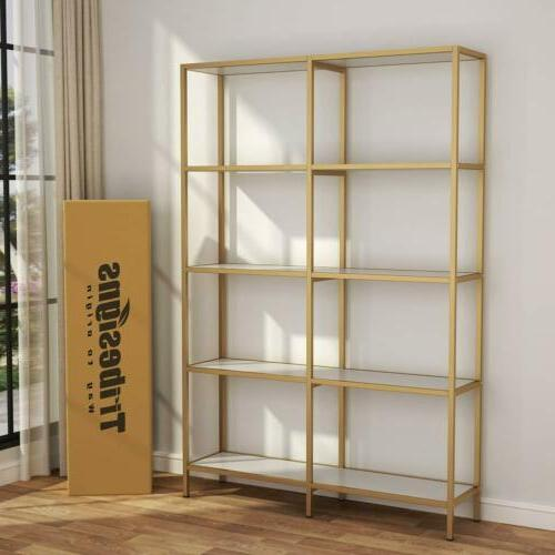 Modern Display Shelves with Steel Frame for Home Office Easy
