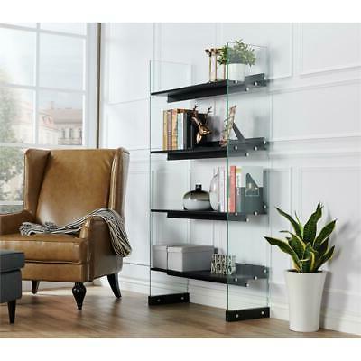 Furniture of Modern 4-Shelf Bookcase Black