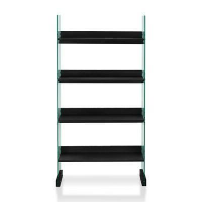 Furniture America Modern 4-Shelf Bookcase in Black