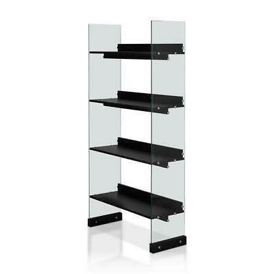 verana modern 4 shelf bookcase in black