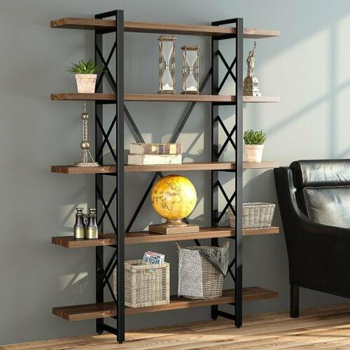 3/4/5Tier Bookshelves Metal and Wood Free Vintage Standing S