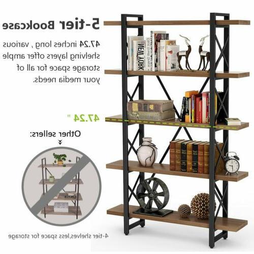 5-Shelf Industrial Bookshelf Bookcase, Metal 72''H