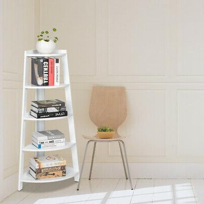 White 5 Shelf Stand Tier Storage Home Furniture