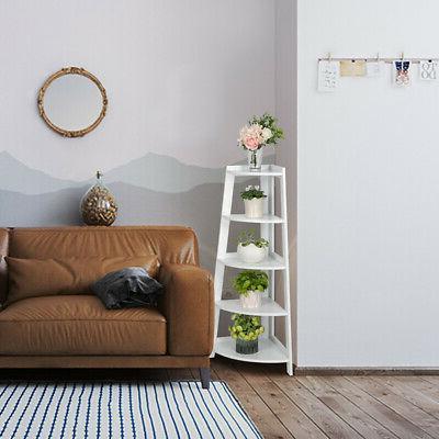 white 5 shelves corner shelf stand wood