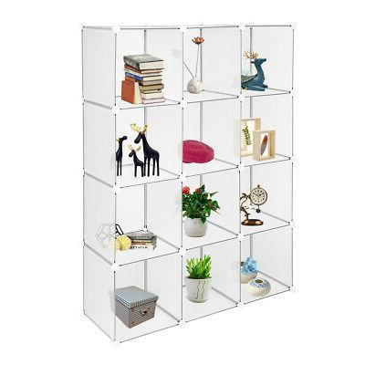 White Open Bookcases Bookshelving 4 Tiers 12Cube Home Organi