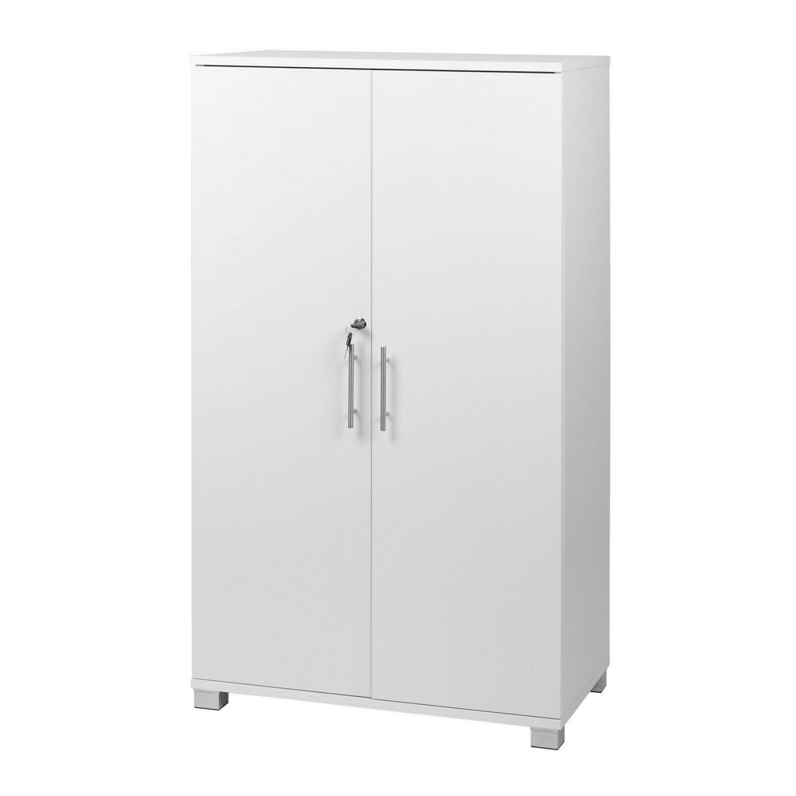 white storage cabinet 2 door cupboard locking