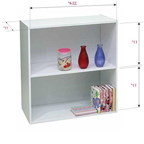Kings Brand White Wood 2-Tier Shelf Storage Organizer
