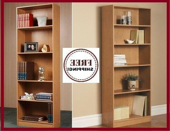 wood bookcase adjustable 5 shelf bookshelf storage