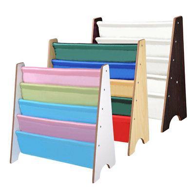wood kids book shelf sling storage rack