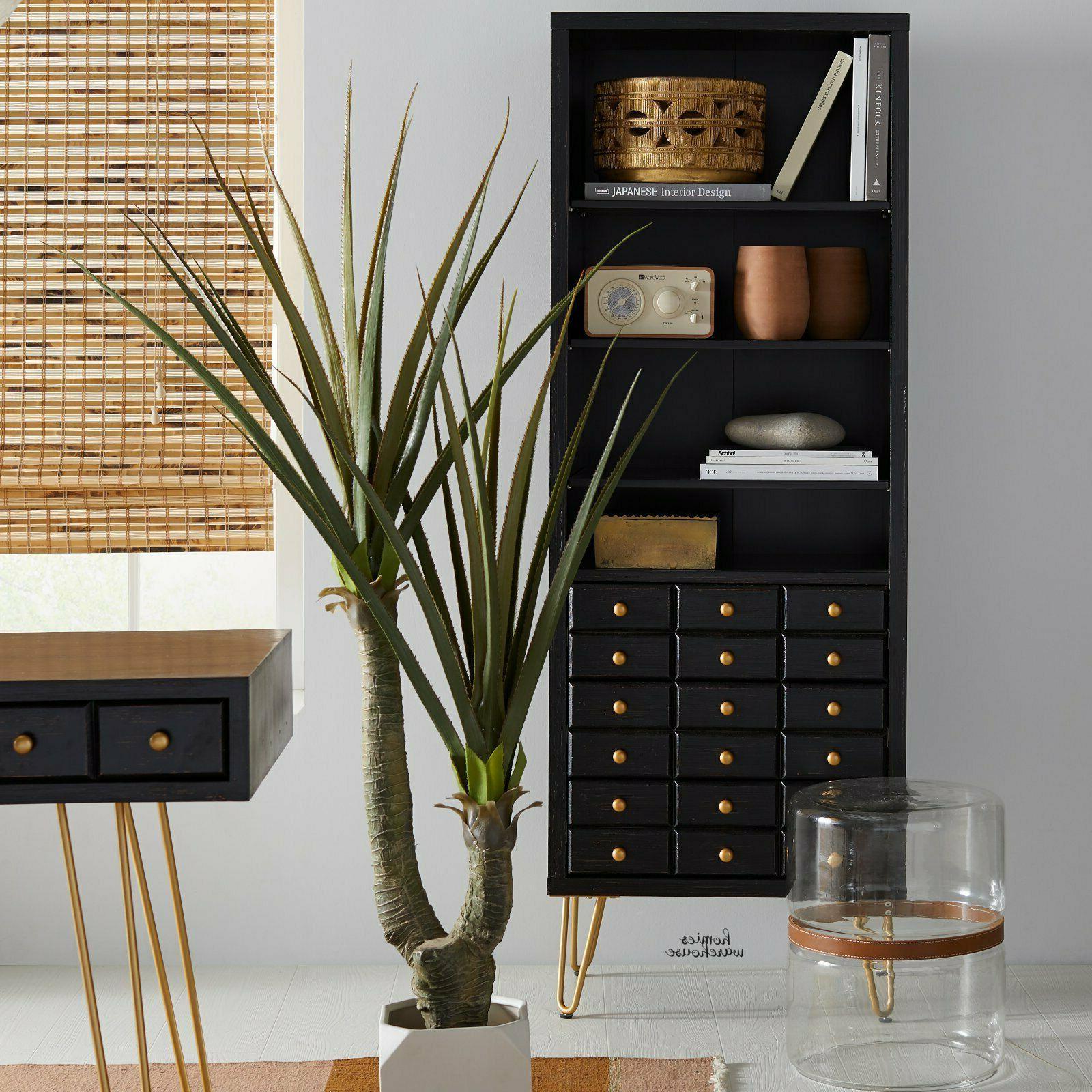 Wood Metal Bookcase Storage Cabinet Adjustable Shelves 3 Dra
