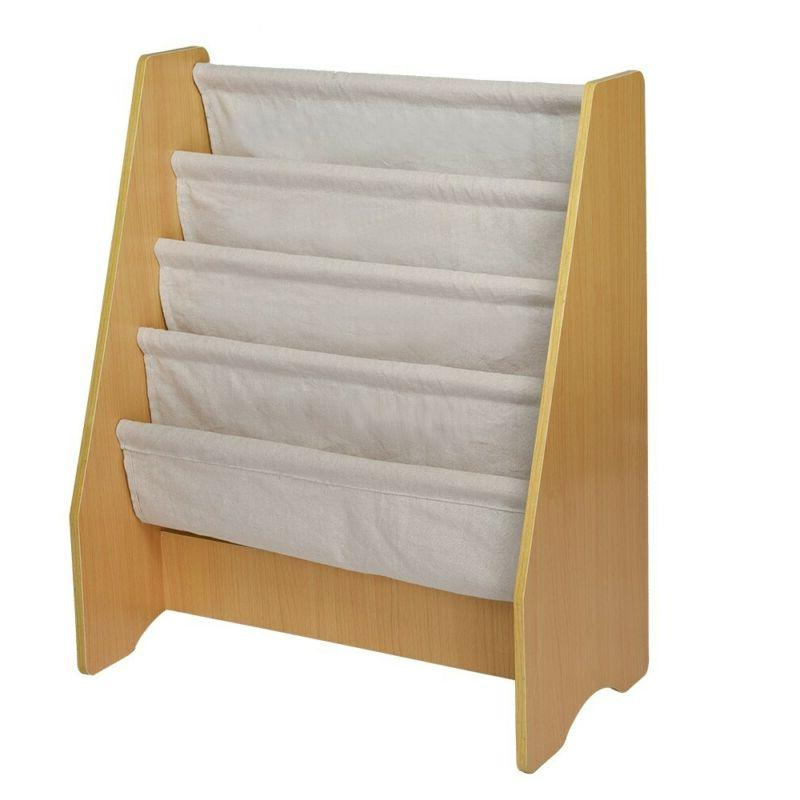 Wooden 4 Layer Sling Bookcase Book Storage Rack For Child US