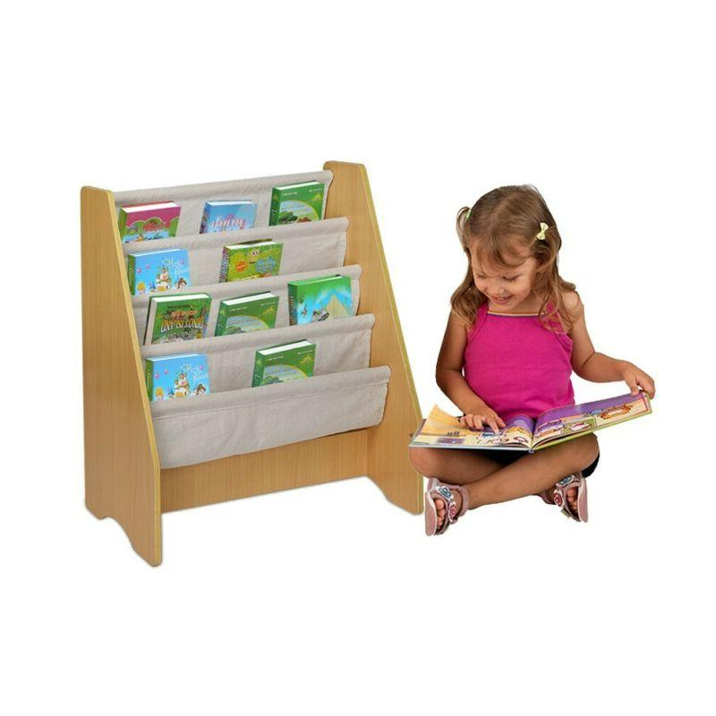 Wooden Fabric Sling Book Storage