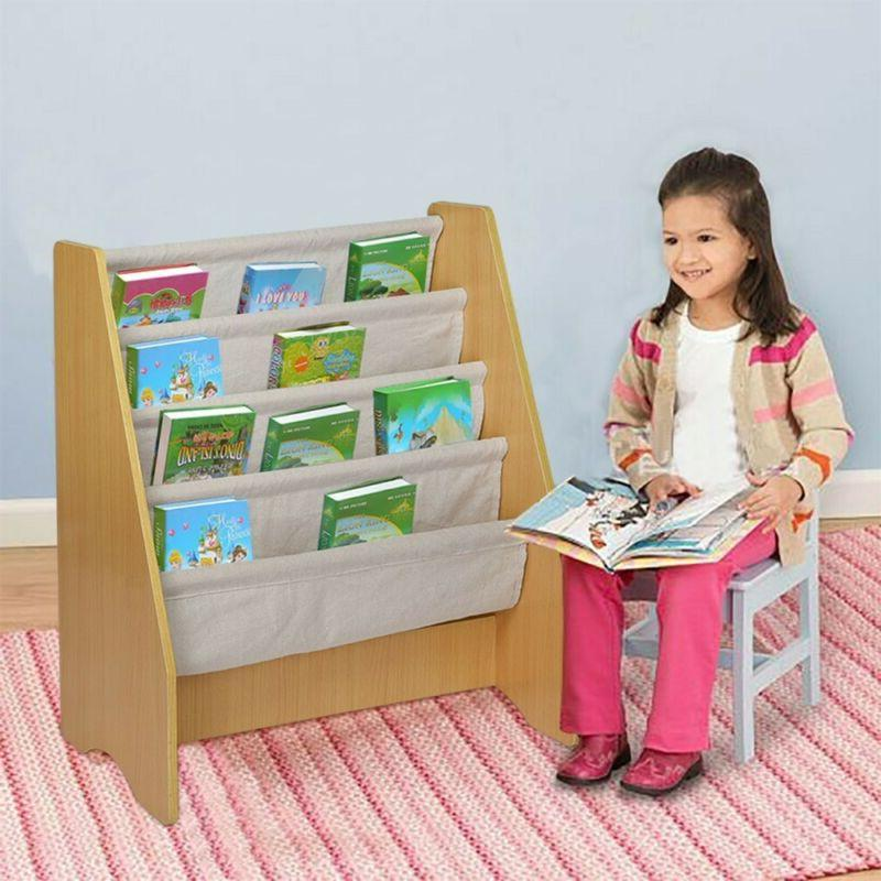wooden 4 layer fabric sling bookcase toy