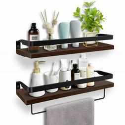 Large Brown Floating Shelves Wood Wall Shelf Kitchen Spice R