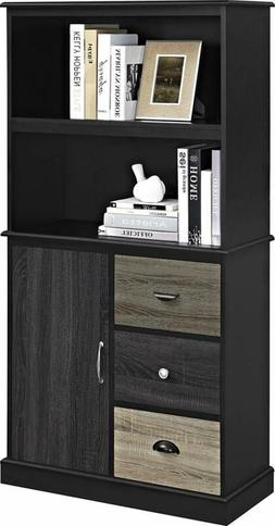 Ameriwood Home Mercer Storage Bookcase With Multicolored Doo