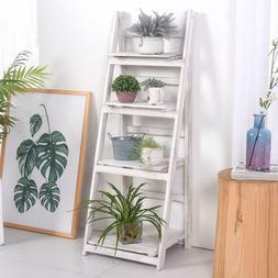 "45""Foldable 4-Tier Ladder Shelf Bookshelf Bookcase Storage D"