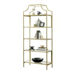Modern Gold Bookcase Glass Metal Display Book Shelf Storage