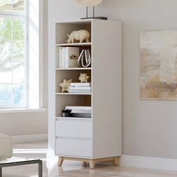Modern Mid-Century White Tower Bookcase Bookshelf Storage 2
