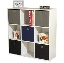 Neutral White Cube Unit Bookcase With Polyester Fabric Bins