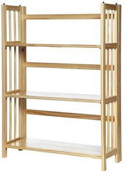 """NEW  3 Shelf Folding Stackable Bookcase, Natural, 38"""" Height"""