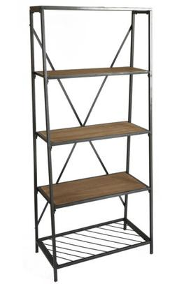 New Uniquewise 4-Shelf Wooden Bookcase, Wood and Metal Books