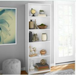 "New 71"" Tall 5-Shelf Bookcase 3 Adjustable Wood Bookshelf St"