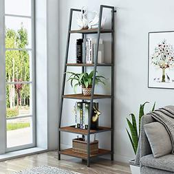 O&K FURNITURE 5-Tier Ladder Shelf, Ladder Shelves, Rustic Co