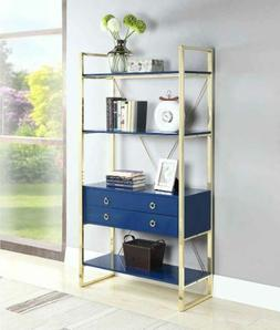 Odessa Glossy Blue and Gold Brass Finish Four Shelf Bookcase