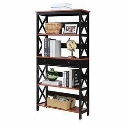Convenience Concepts Oxford 5 Tier Bookcase in Cherry and Bl