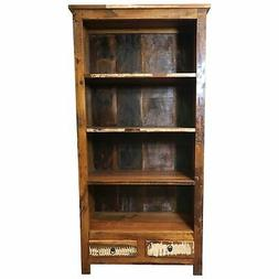 """Rustic Reclaimed Solid Wood Bookcase with Two Drawers 36"""" L"""