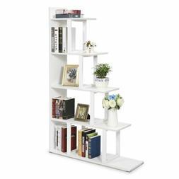 Simplism Style Bookshelf 5-Shelf Ladder Corner Bookshelf Mad