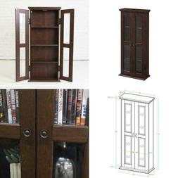 Small Bookshelf with Glass Doors Bookcase Cabinet Furniture
