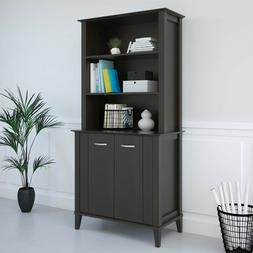 Solid Wood Bookcase Doors Espresso Home Office Furniture Adj