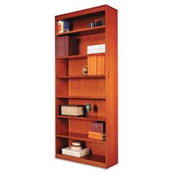 Alera Square Corner Bookcase, Finished Back, Wood Veneer, 7-