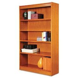 Square Corner Wood Veneer Bookcase, 5-Shelf, 35-3/8 x 11-3/4