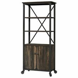 Sauder Steel River 3 Shelf Mobile Bookcase in Carbon Oak and