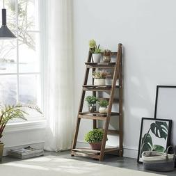 Strong 4 Tier Ladder Shelf Leaning Bookcase Plant Stand Disp
