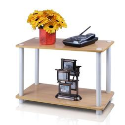 Turn-N-Tube 2-Tier No-Tools Shelf End Table Plant Stand, Mul