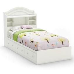 Twin White Storage Bed with Bookcase Headboard Platform Draw
