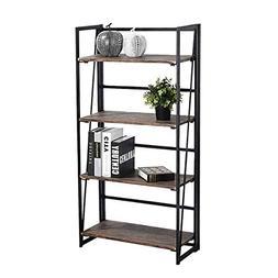 Coavas Folding Bookshelf Rack 4-Tiers Bookcase Home Office S
