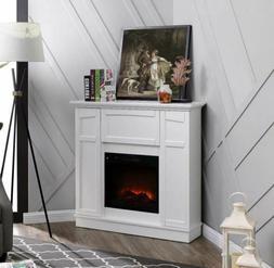 Wall Corner Electric Fireplace Fan Heater Remote Flame Stora