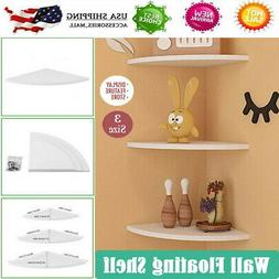 White 3PCS Corner Floating Wall Mount Shelves Storage Rack D