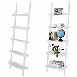 White 5-Tier Bookcase Bookshelf Leaning Wall Plant Shelf  La