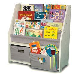 White and Gray Bookshelf Bookcase Kids Children Toy Bedroom